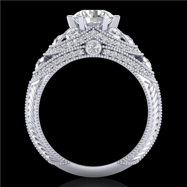 2 ctw VS/SI Diamond Solitaire Art Deco Ring 18k White Gold - REF-480F2M