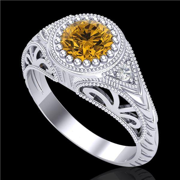 1.07 ctw Intense Fancy Yellow Diamond Art Deco Ring 18k White Gold - REF-200M2G