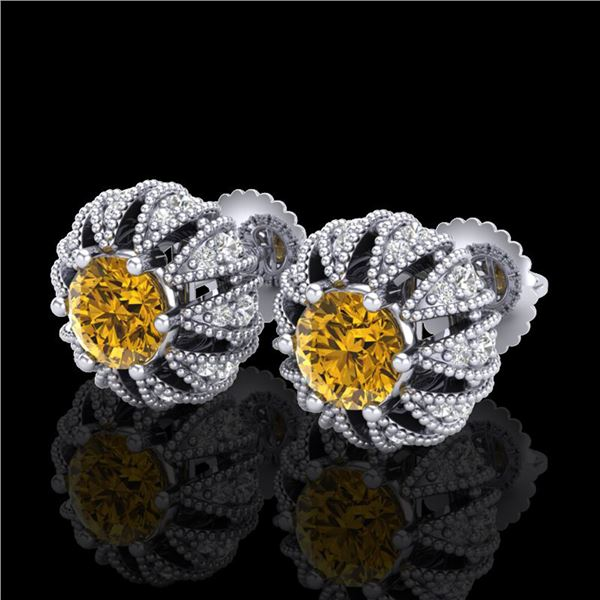 2.01 ctw Intense Fancy Yellow Diamond Art Deco Earrings 18k White Gold - REF-210X9A