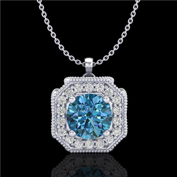 1.54 ctw Fancy Intense Blue Diamond Art Deco Necklace 18k White Gold - REF-216R4K