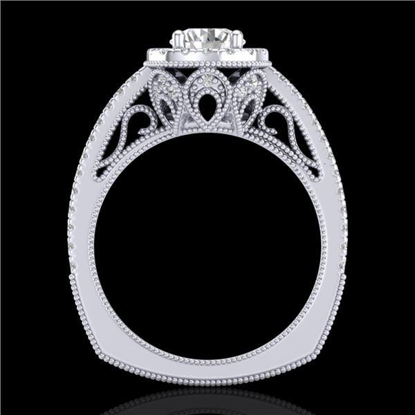 1.55 ctw VS/SI Diamond Solitaire Art Deco Ring 18k White Gold - REF-263H6R