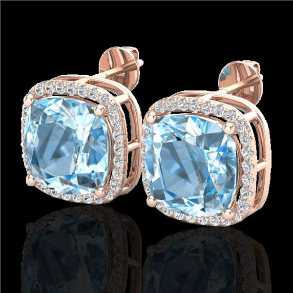 12 ctw Sky Blue Topaz & Micro VS/SI Diamond Earrings 14k Rose Gold - REF-75Y5X