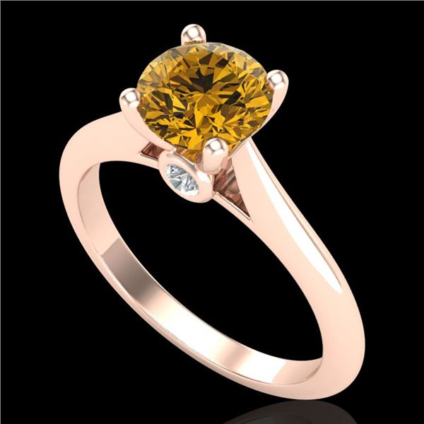 1.36 ctw Intense Fancy Yellow Diamond Art Deco Ring 18k Rose Gold - REF-238M6G