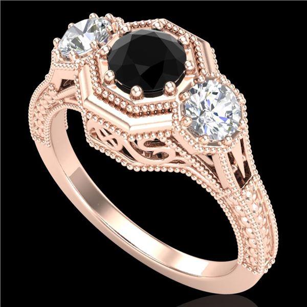 1.05 ctw Fancy Black Diamond Art Deco 3 Stone Ring 18k Rose Gold - REF-123R6K