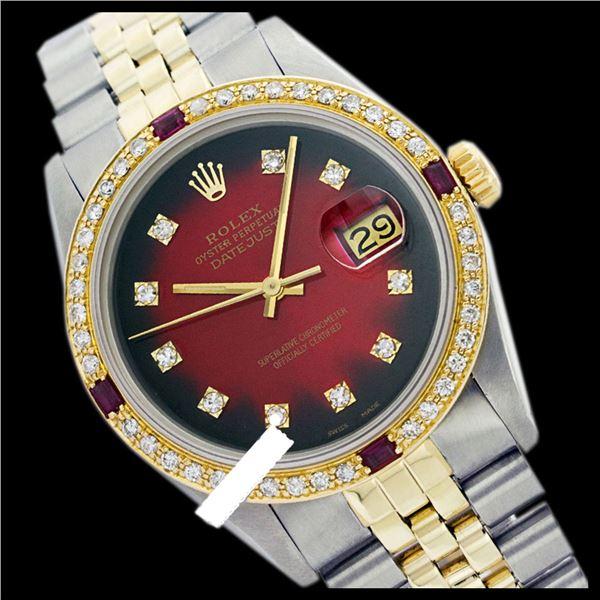 Rolex Men's Two Tone 14K Gold/SS, QuickSet, Diam Dial & Diam/Ruby Bezel