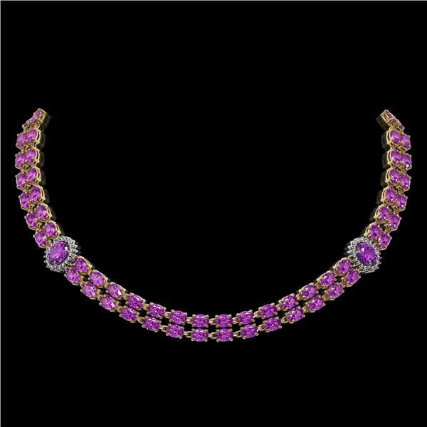 31.28 ctw Amethyst & Diamond Necklace 14K Yellow Gold - REF-454W5H