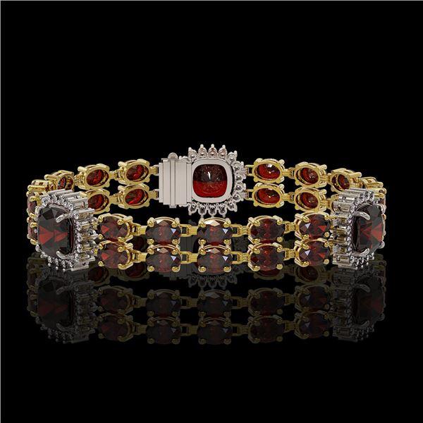 17.34 ctw Garnet & Diamond Bracelet 14K Yellow Gold - REF-263A6N