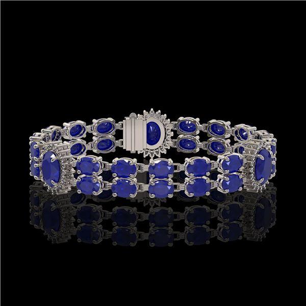 20.99 ctw Sapphire & Diamond Bracelet 14K White Gold - REF-250G9W