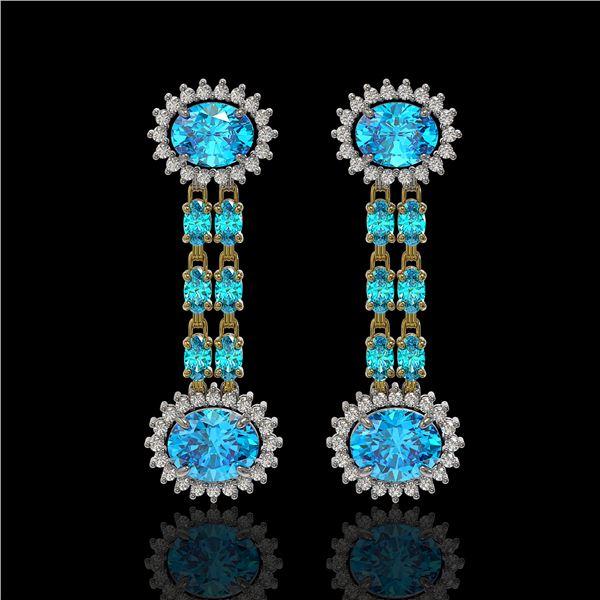 9.85 ctw Swiss Topaz & Diamond Earrings 14K Yellow Gold - REF-145A3N