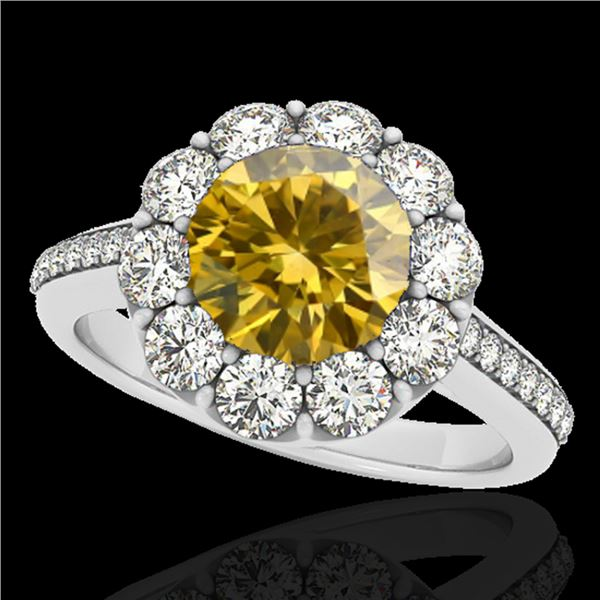 2 ctw Certified SI/I Fancy Intense Yellow Diamond Halo Ring 10k White Gold - REF-218Y2X