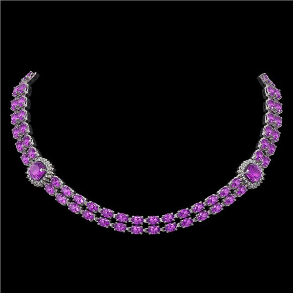 31.91 ctw Amethyst & Diamond Necklace 14K White Gold - REF-527M3G