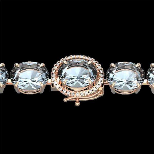 60 ctw Aquamarine & Micro Pave Diamond Bracelet 14k Rose Gold - REF-945H5R