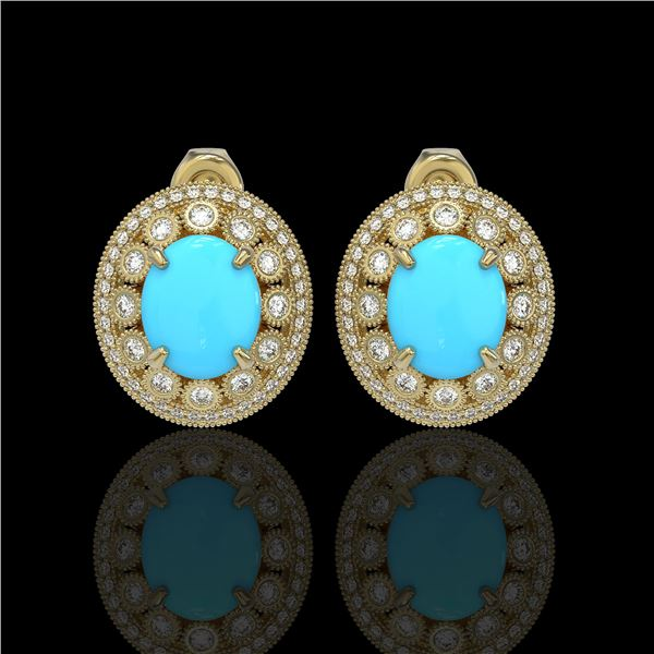 9.21 ctw Turquoise & Diamond Victorian Earrings 14K Yellow Gold - REF-266A4N