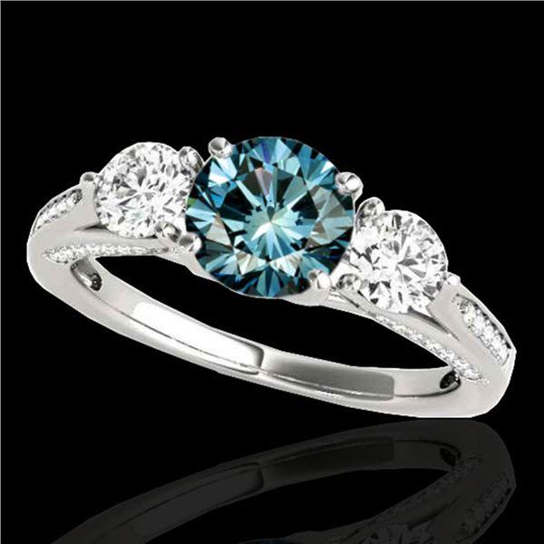 1.75 ctw SI Certified Fancy Blue Diamond 3 Stone Ring 10k White Gold - REF-156K8Y