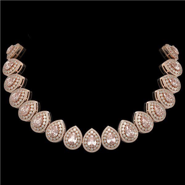 103.22 ctw Morganite & Diamond Victorian Necklace 14K Rose Gold - REF-4551W3H