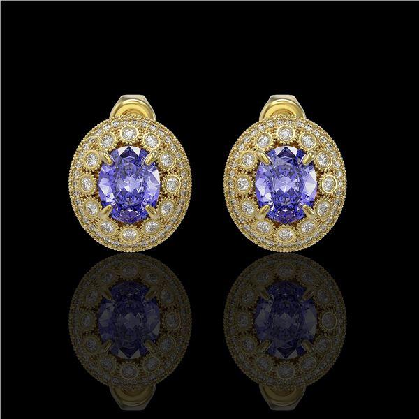 9.06 ctw Tanzanite & Diamond Victorian Earrings 14K Yellow Gold - REF-286K8Y