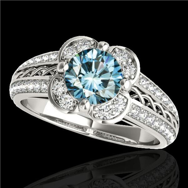 1.5 ctw SI Certified Fancy Blue Diamond Solitaire Halo Ring 10k White Gold - REF-135A2N