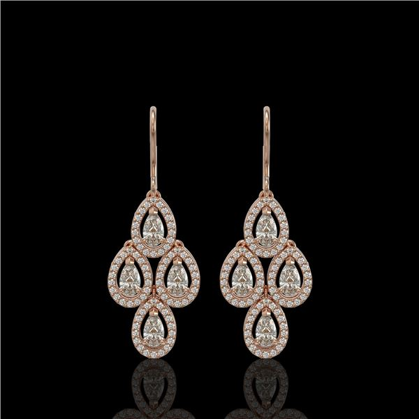 3.07 ctw Pear Cut Diamond Micro Pave Earrings 18K Rose Gold - REF-269X2A
