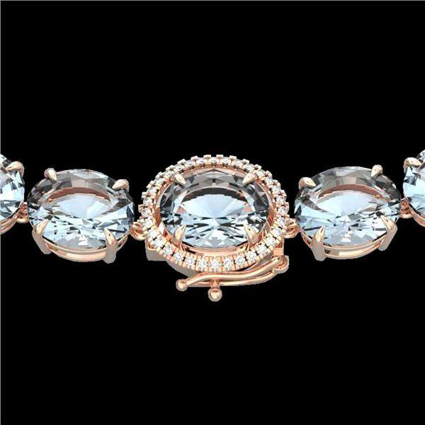 136 ctw Aquamarine & Diamond Micro Eternity Necklace 14k Rose Gold - REF-2090N9F