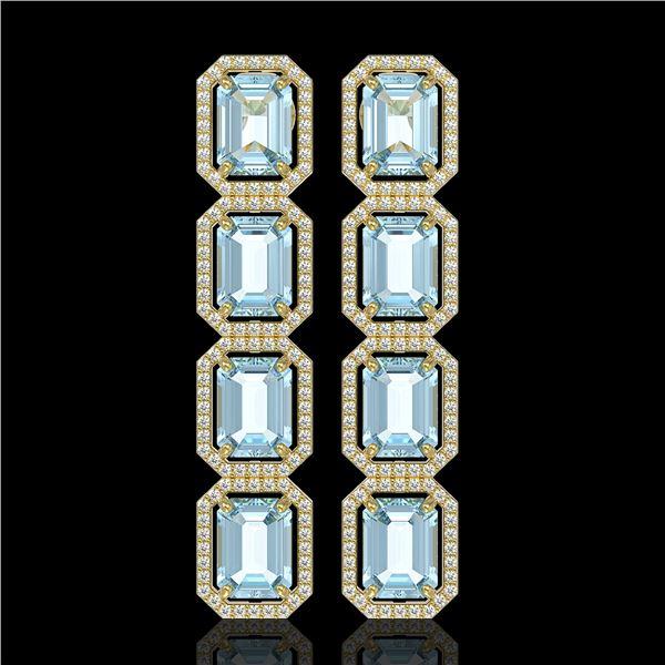 19.49 ctw Aquamarine & Diamond Micro Pave Halo Earrings 10k Yellow Gold - REF-323Y5X
