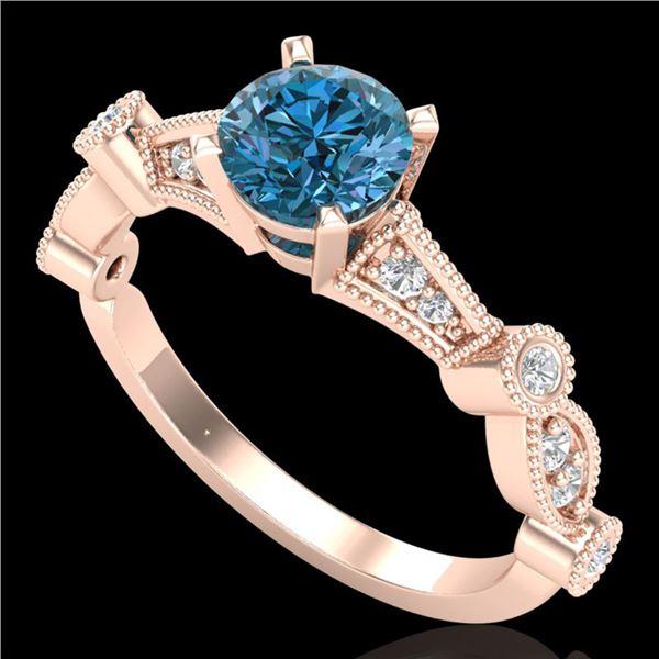 1.03 ctw Fancy Intense Blue Diamond Art Deco Ring 18k Rose Gold - REF-114W5H