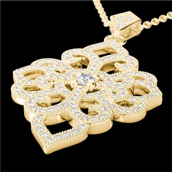 1.40 ctw Micro Pave VS/SI Diamond Designer Necklace 14k Yellow Gold - REF-130G9W