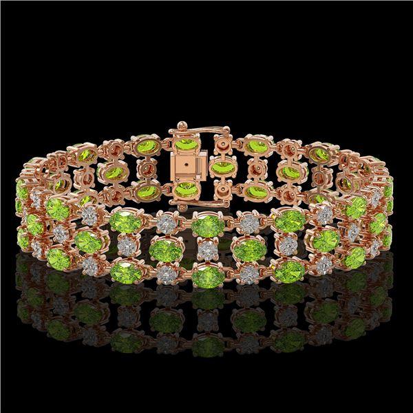 23.12 ctw Peridot & Diamond Bracelet 10K Rose Gold - REF-227Y3X