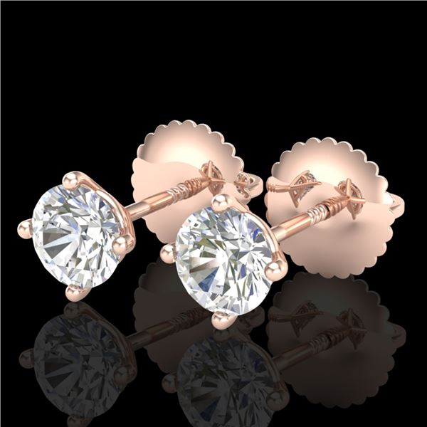 0.65 ctw VS/SI Diamond Solitaire Art Deco Stud Earrings 18k Rose Gold - REF-60A3N
