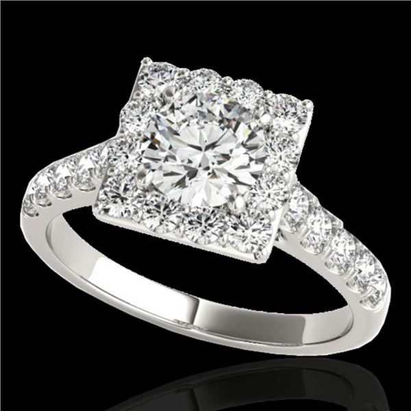 2 ctw Certified Diamond Solitaire Halo Ring 10k White Gold - REF-218M2G