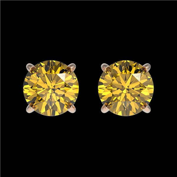 1.08 ctw Certified Intense Yellow Diamond Stud Earrings 10k Rose Gold - REF-95H3R