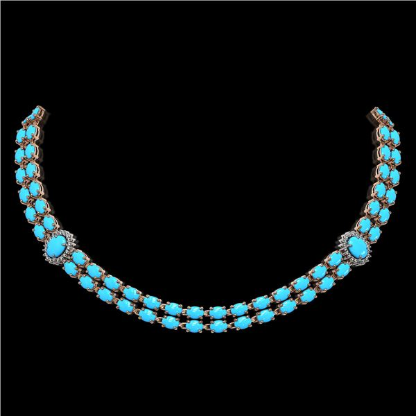 29.16 ctw Turquoise & Diamond Necklace 14K Rose Gold - REF-454F5M