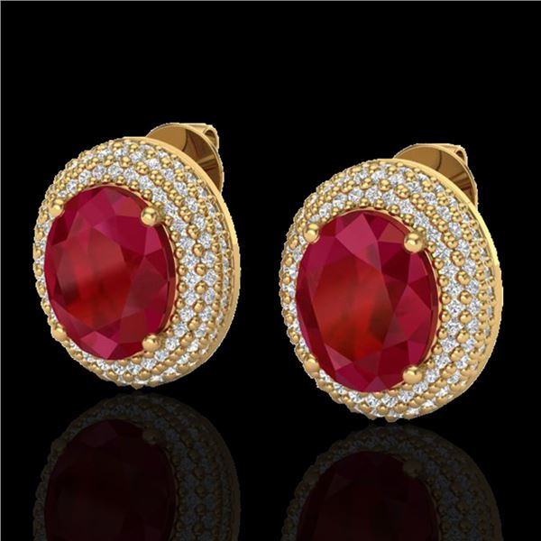 9.20 ctw Ruby & Micro Pave VS/SI Diamond Earrings 18k Yellow Gold - REF-190M2G