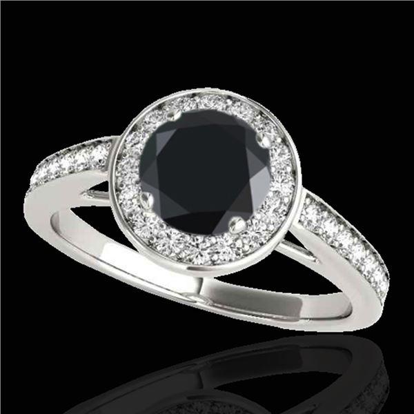 1.45 ctw Certified VS Black Diamond Solitaire Halo Ring 10k White Gold - REF-57G3W