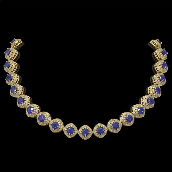 82.17 ctw Sapphire & Diamond Victorian Necklace 14K Yellow Gold - REF-1800A2N