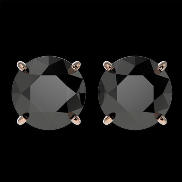 3 ctw Fancy Black Diamond Solitaire Stud Earrings 10k Rose Gold - REF-60H3R