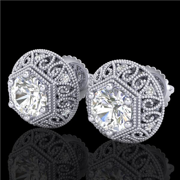 1.31 ctw VS/SI Diamond Solitaire Art Deco Stud Earrings 18k White Gold - REF-236Y4X