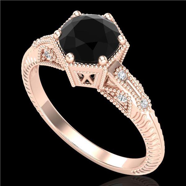 1.17 ctw Fancy Black Diamond Engagment Art Deco Ring 18k Rose Gold - REF-85A5N