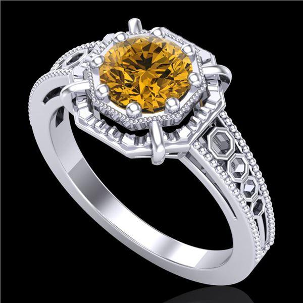 1 ctw Intense Fancy Yellow Diamond Art Deco Ring 18k White Gold - REF-200K2Y
