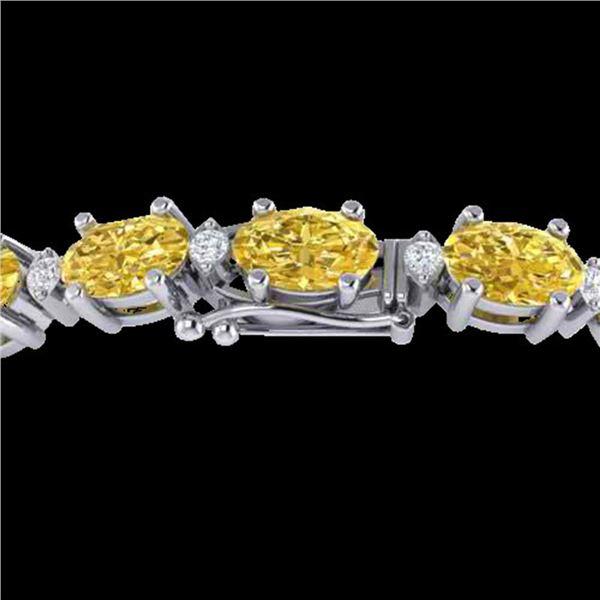 19.7 ctw Citrine & VS/SI Diamond Eternity Bracelet 10k White Gold - REF-98W2H