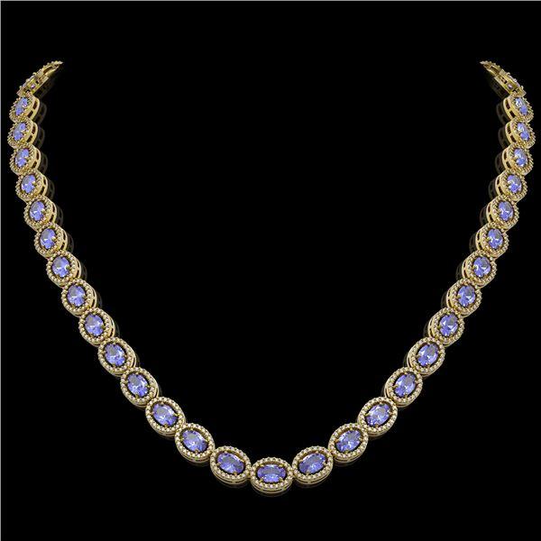 31.96 ctw Tanzanite & Diamond Micro Pave Halo Necklace 10k Yellow Gold - REF-672X8A