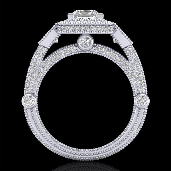 3 ctw Princess VS/SI Diamond Art Deco 3 Stone Ring 18k White Gold - REF-563H6R
