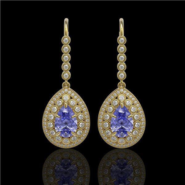 8.95 ctw Tanzanite & Diamond Victorian Earrings 14K Yellow Gold - REF-345F5M