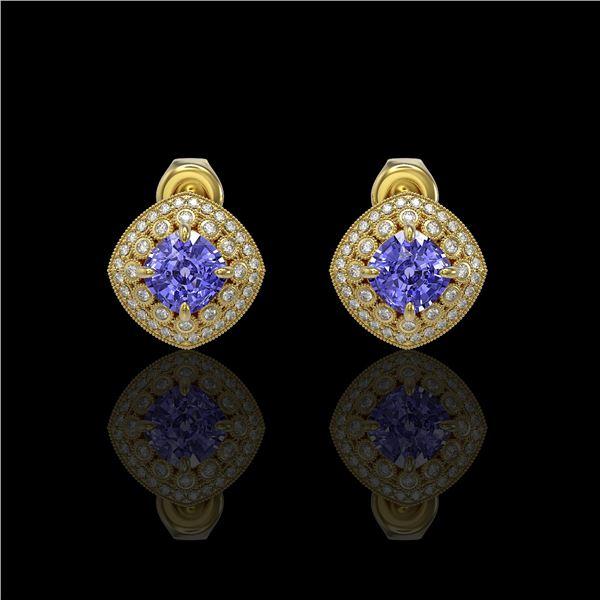 5.09 ctw Tanzanite & Diamond Victorian Earrings 14K Yellow Gold - REF-152N5F