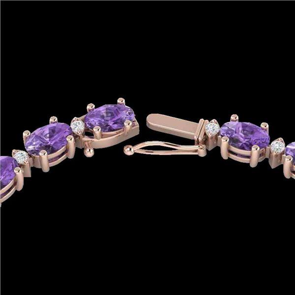 28 ctw Amethyst & VS/SI Diamond Certified Eternity Necklace 10k Rose Gold - REF-146W5H