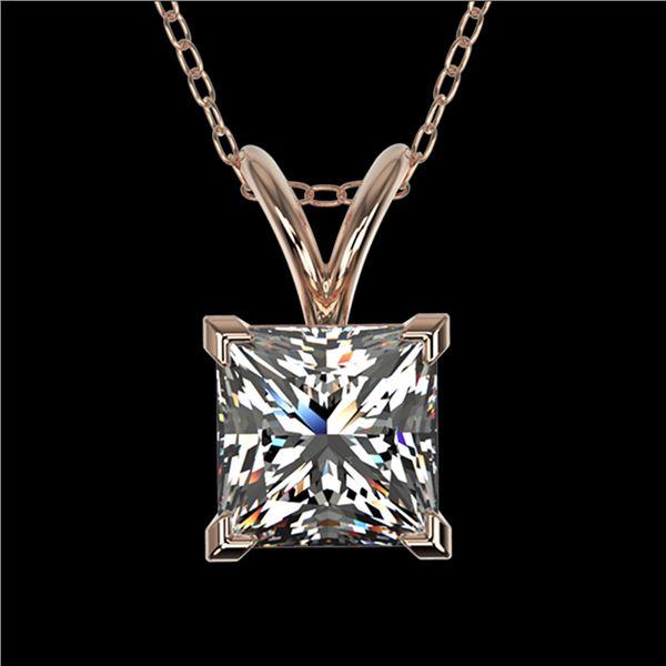 1 ctw Certified VS/SI Quality Princess Diamond Necklace 10k Rose Gold - REF-239F3M