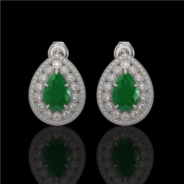 9.74 ctw Certified Emerald & Diamond Victorian Earrings 14K White Gold - REF-309H3R