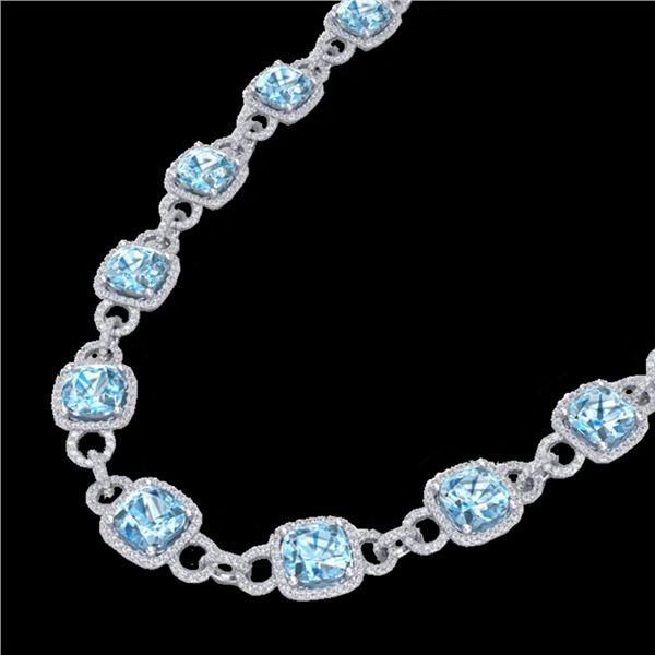 66 ctw TOPAZ & Micro VS/SI Diamond Eternity Necklace 14k White Gold - REF-881W8H