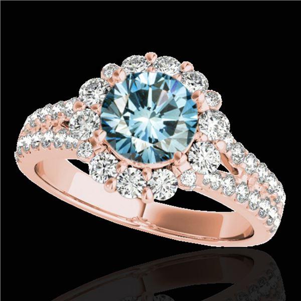 2.01 ctw SI Certified Fancy Blue Diamond Halo Ring 10k Rose Gold - REF-156M8G