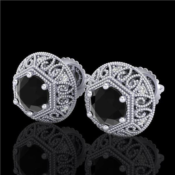 1.31 ctw Fancy Black Diamond Art Deco Stud Earrings 18k White Gold - REF-81Y8X