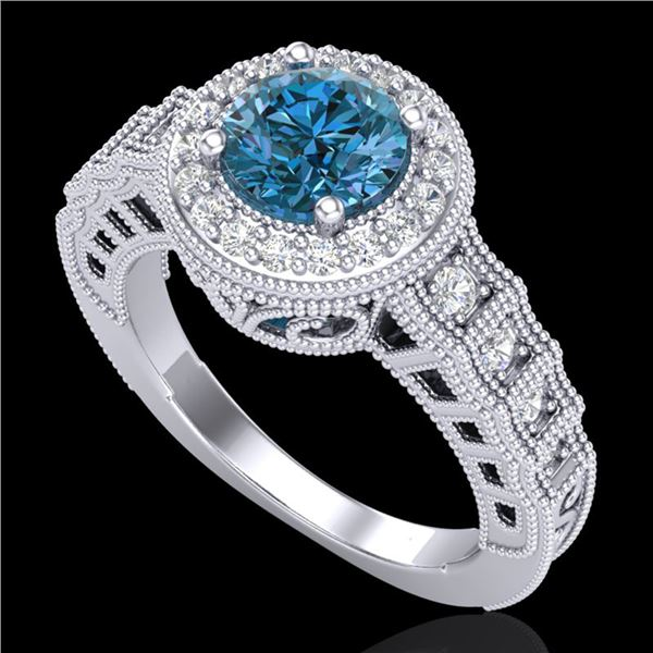 1.53 ctw Fancy Intense Blue Diamond Art Deco Ring 18k White Gold - REF-236X4A